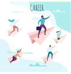 Career poster with people flying on paper planes vector
