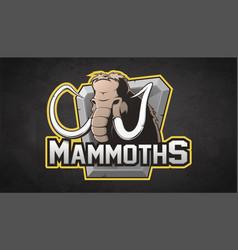 Cartoon emblem of mammoth vector