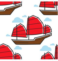 Chinese seamless pattern sailboat or junk ship vector