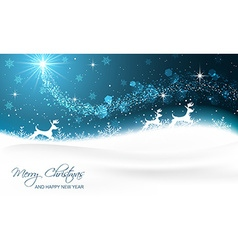 Christmas card with reindeer snowflakes glitter vector image