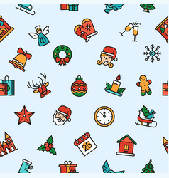 christmas linear symbols seamless pattern vector image