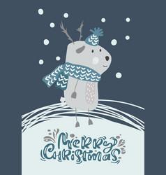 Christmas scandinavian deer in hat and vector