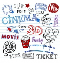 cinema doodles vector image