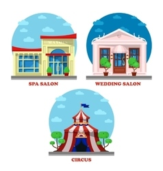 Circus and spa salon wedding building exterior vector image