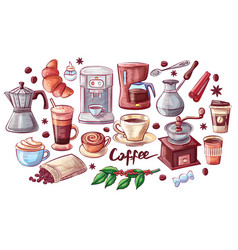 coffee cup and dessert poster vector image
