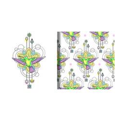Colibri watercolor print and seamless vector