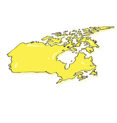 comic drawing of a map of canada vector image