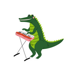 Crocodile playing piano cute cartoon animal vector