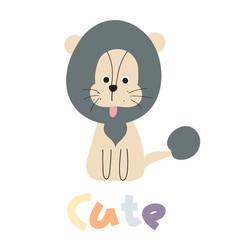 Cute lion print vector