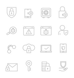 cyber security symbols linear pictures set vector image