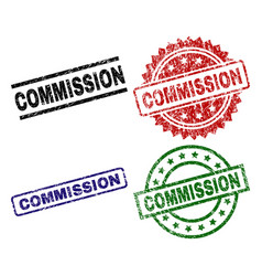 Damaged textured commission seal stamps vector