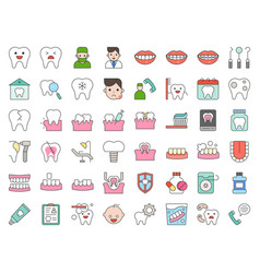 dentist and dental clinic related filled outline vector image