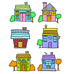 Doodle of house set colorful cartoon vector