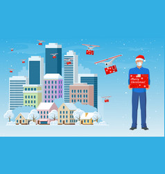 drone with delivering christmas gift and courier vector image