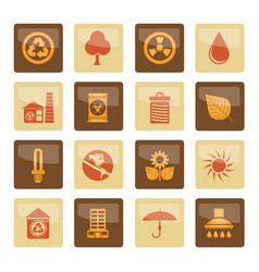 ecology and nature icons over brown background vector image