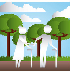 Elderly couple with walk cane in the park family vector