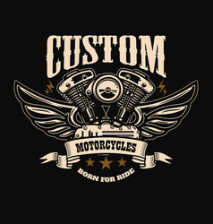 Emblem template with winged motorcycle motor vector