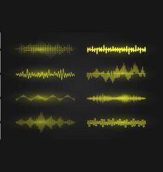 equalizer waves on black background realistic set vector image