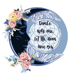 fashion boho with moon and flowers vector image