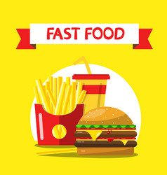 fast food flat design on yellow background french vector image