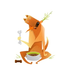 Feeding Happy Red Dog Healthy Balanced Diet vector image