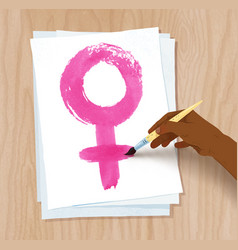 female hand drawing woman symbol on paper vector image