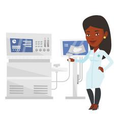 Female ultrasound doctor vector