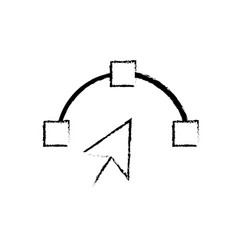 Figure arrow cursor with nodes design image vector
