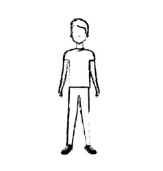Figure handsome man with hairstyle and casual wear vector