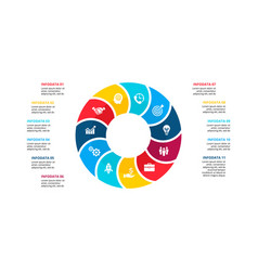 flat circle element for infographic with 11 vector image