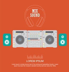Flat design dj mixer sound turntables vector