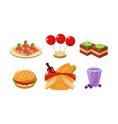 flat set of food and drink icons vector image