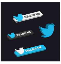 Follow me twitter 3d button vector