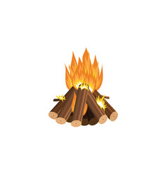 forest tourist campfire flame or fireplace cartoon vector image