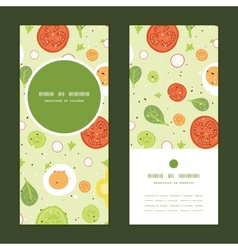 fresh salad vertical round frame pattern vector image