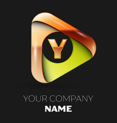 golden letter y logo in golden-green triangle vector image