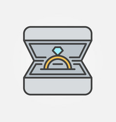 golden ring in box icon - symbol or design vector image