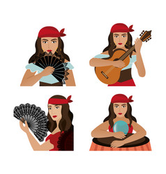 Group gypsy female avatar character vector