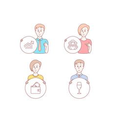 group wallet and demand curve icons wineglass vector image
