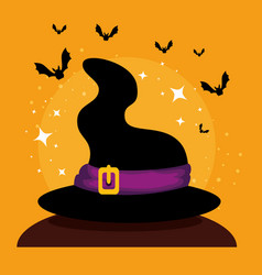 halloween card with witch hat vector image
