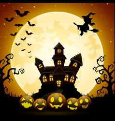 Halloween night background with pumpkins witch fl vector