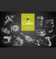 hand drawn coffee menu design vector image