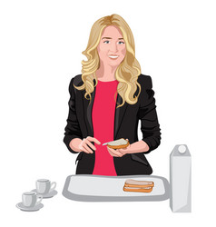 Happy blonde woman dressed in black jacket and vector