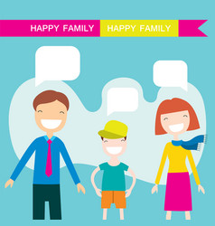 Happy family members parents and their son vector