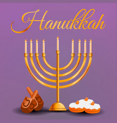 happy hanukkah concept background cartoon style vector image