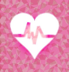 Heart beat on pink dazzled triangle background vector