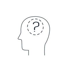 human head and question mark thin line icon vector image
