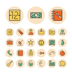 Icons thin red business banking vector