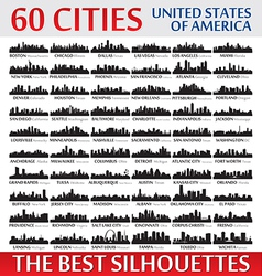 Incredible skyline set 60 city silhouettes of USA vector