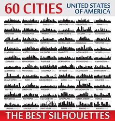 Incredible skyline set 60 city silhouettes usa vector